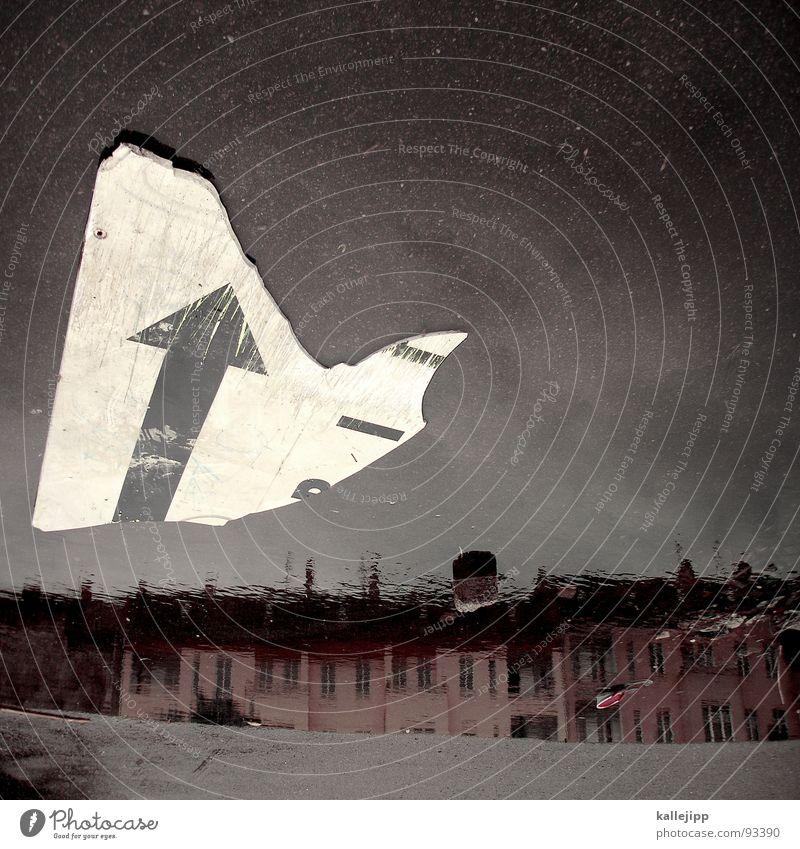 es geht bergauf Richtung Pfütze Spiegelbild Reflexion & Spiegelung Stadt Wohnung Haus Verfall Regen Götter Glaube himmlisch Globalisierung Reifezeit Fassade