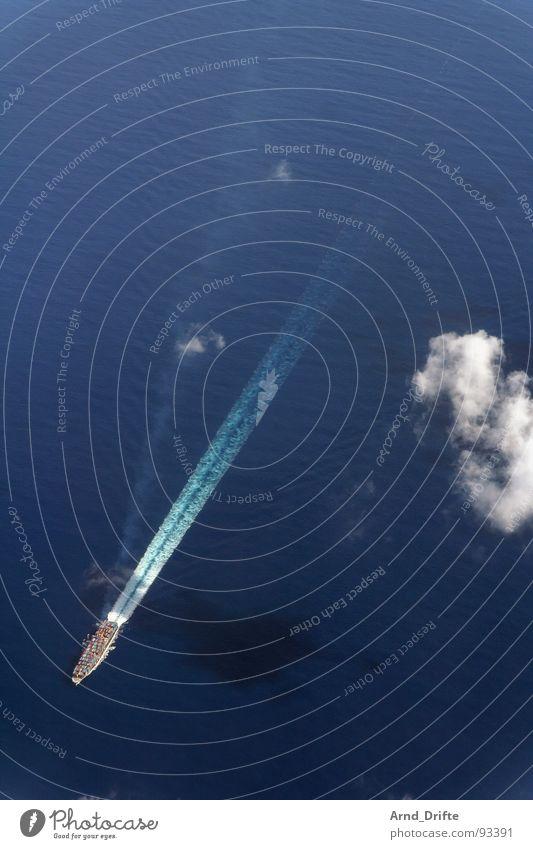 Containerschiff Wasser Meer blau Wolken Wasserfahrzeug Wellen fliegen Luftverkehr Aussicht Schifffahrt Vogelperspektive