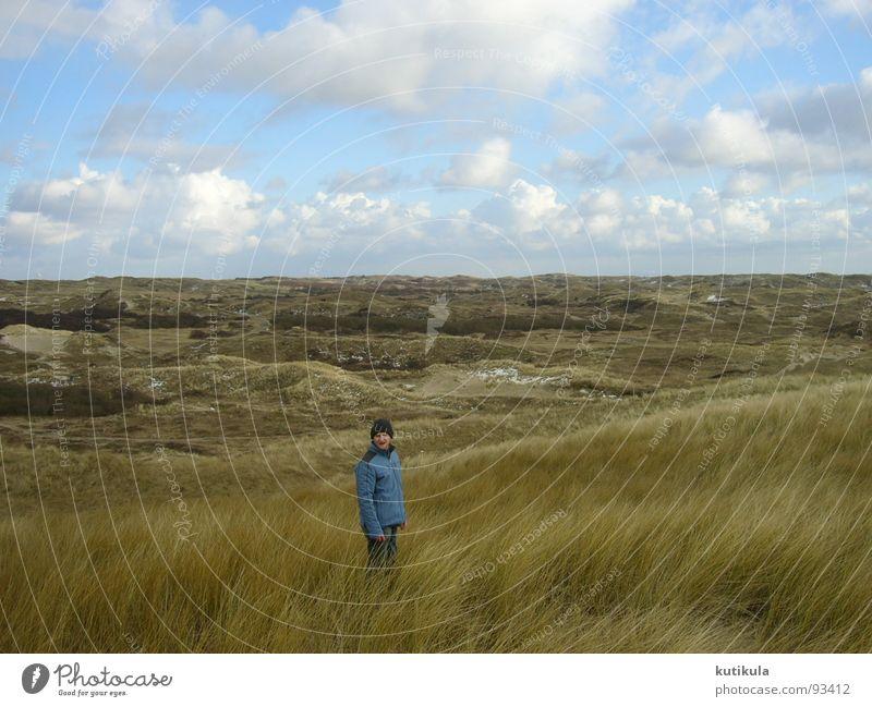 in den Dünen Himmel Mann blau Meer Strand Wolken Einsamkeit Ferne kalt Freiheit Küste braun Wind Wildtier Energiewirtschaft frisch