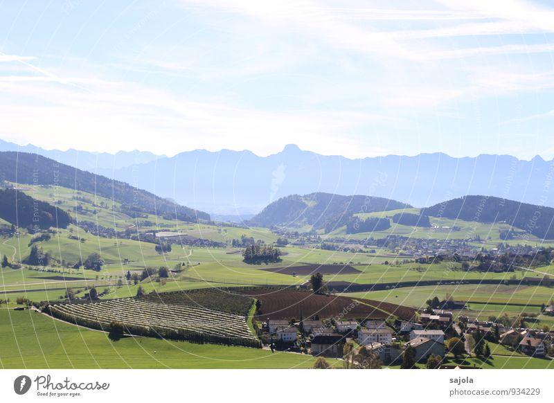 ausblick Umwelt Natur Landschaft Pflanze Himmel Wolken Herbst Feld Hügel Alpen Berge u. Gebirge Berner Oberland Schweiz Dorf Haus Einfamilienhaus Tourismus