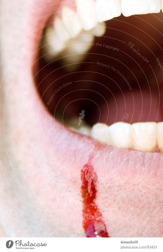 Nassrasurversuch Blut Unfall Wunde schreien Wut Lippen Mann Bart Stoppel Rasieren maskulin Aggression geschnitten Schnittwunde rot Ärger Angst Panik Schmerz
