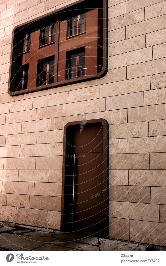 ne runde sache Haus einfach Fenster Reflexion & Spiegelung Physik Stil Runde Sache modern architecture Stein Tür Wärme Farbe Glas window Stadt runde ecken