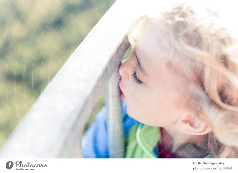 Metallkuss Kindergarten feminin Mädchen Kindheit 1 Mensch 3-8 Jahre entdecken genießen Küssen Spielen Umarmen weich Leichtigkeit Metallwaren Gitter Zaun Blond