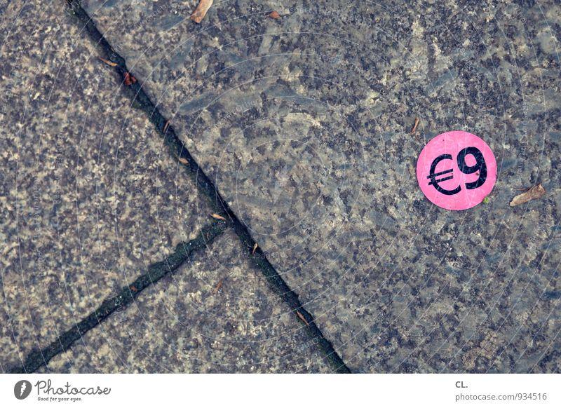 angebot kaufen Straße Wege & Pfade Etikett Stein Zeichen Schriftzeichen Ziffern & Zahlen Geld sparen Billig rosa geizig Handel Preisschild sparsam 9 Euro