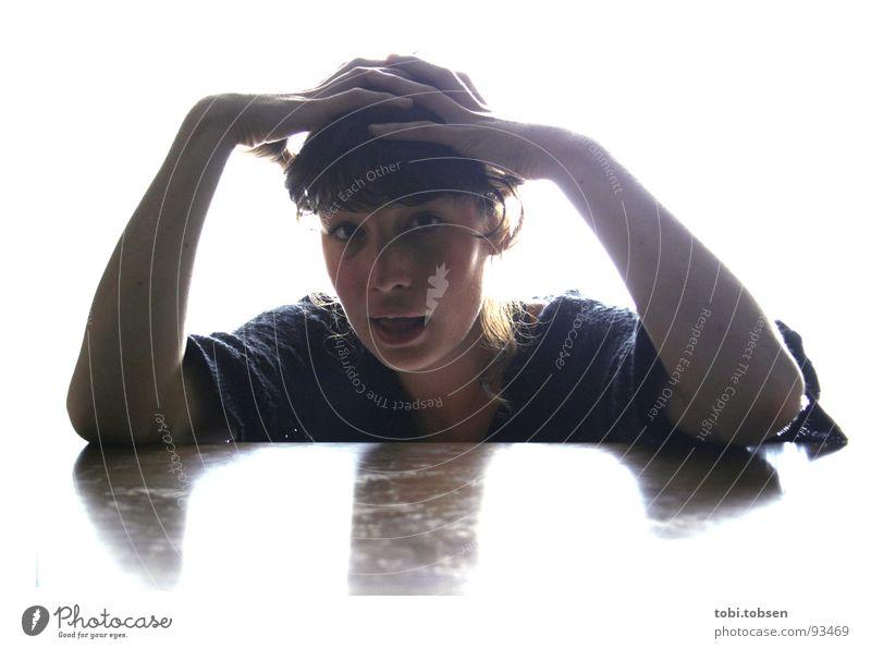 lightroom #1 Frau Hand weiß oben Kopf Mund Zusammensein Angst Arme mehrere Schmerz viele Panik schlagen Wahnsinn Kopfschmerzen