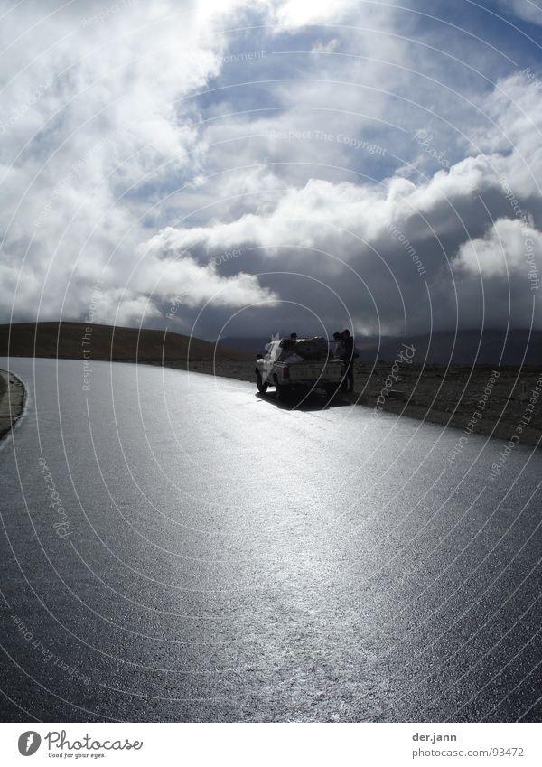 4500 m Höhe Himmel Sonne Wolken Straße Berge u. Gebirge Regen Asien Lastwagen