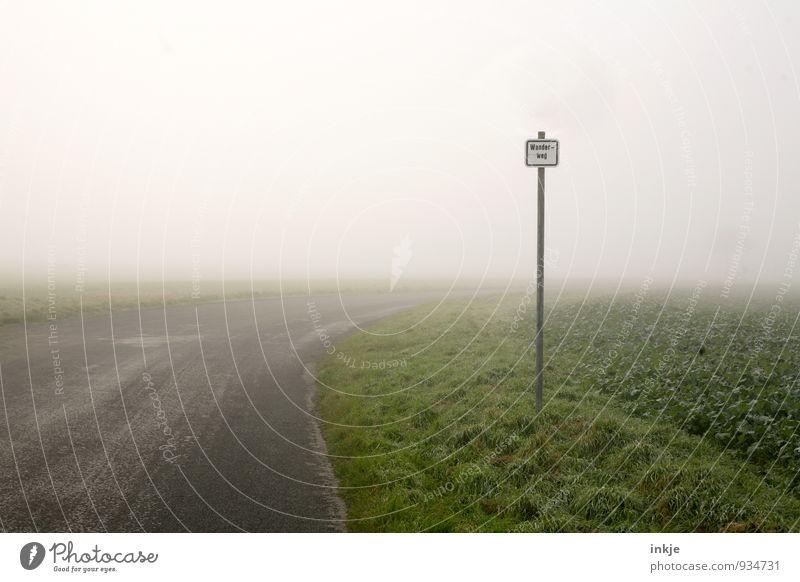 auf gehts! | 1900 Landschaft dunkel kalt Umwelt Straße Herbst Bewegung Wege & Pfade Horizont Luft Wetter Feld Idylle Nebel Schilder & Markierungen Verkehr