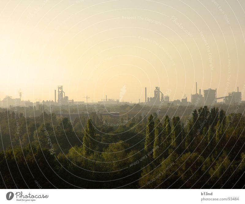 Ihr seid das Ruhrgebiet Topf Region Stahl Fabrik Schmelzofen Zeche Bergbau Kultur grau dreckig staubig gelb grün Baum Wald Nebel schlechtes Wetter Horizont