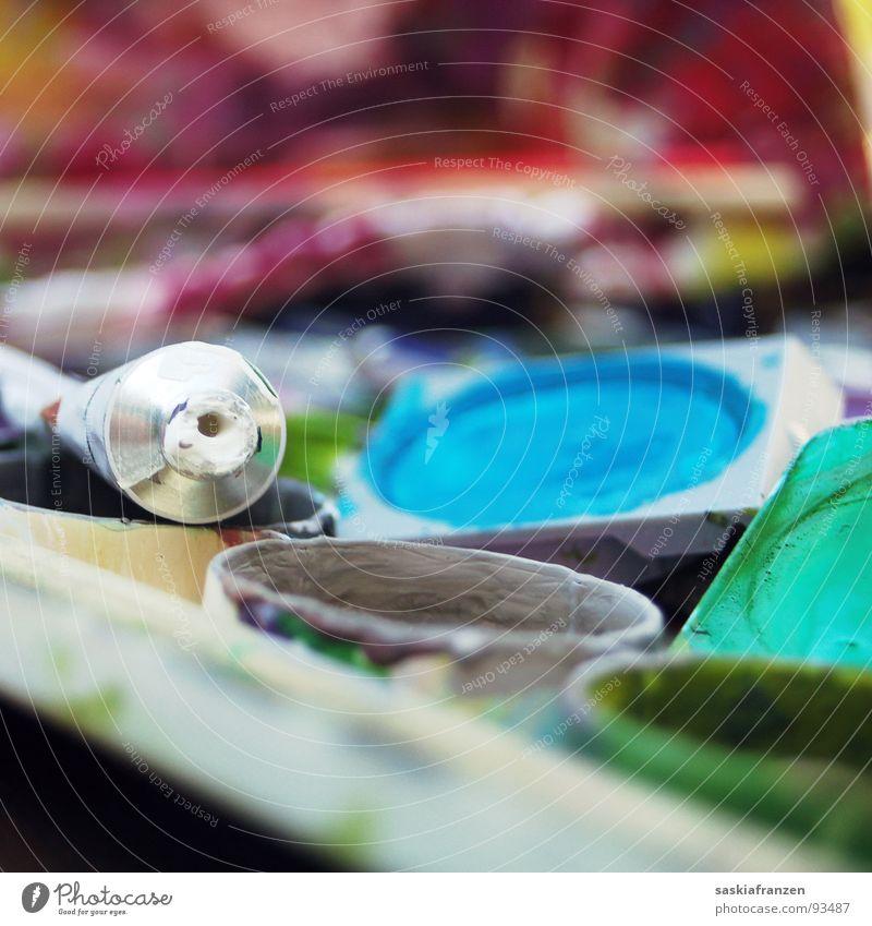 Wasserfarbe 2 weiß grün blau rot Freude Farbe Glück Kunst rosa Kultur streichen türkis Gemälde Kreativität London Underground mischen