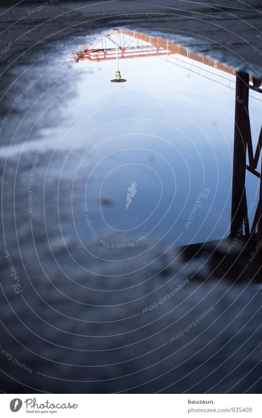 AST7 Pott   pfützen contest. Himmel Wetter Schönes Wetter Regen Industrieanlage Fabrik Ruine Platz Marktplatz Straßenbeleuchtung Straßenbelag Pfütze Metall
