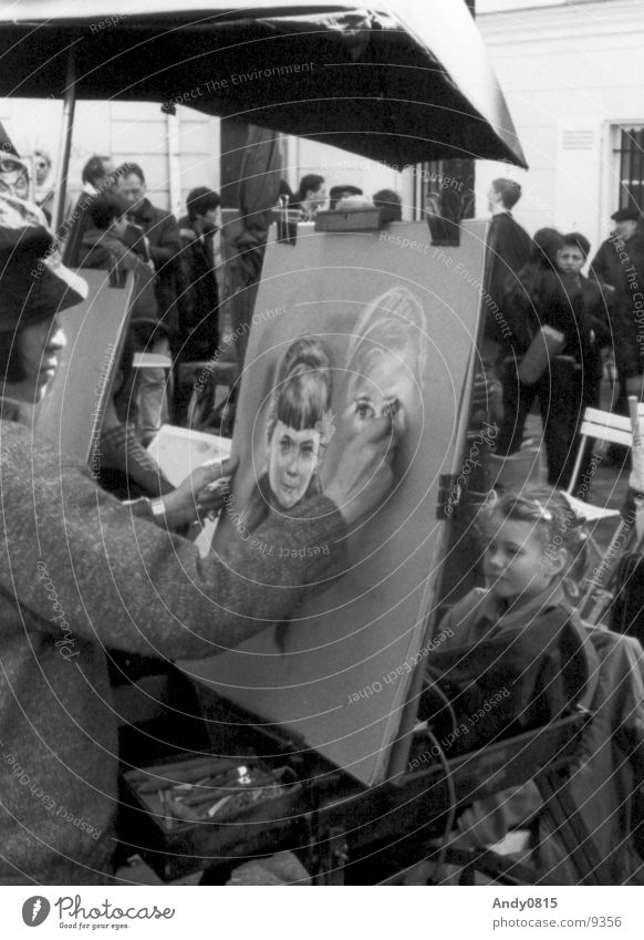 classicART Mädchen Kunst Paris Frankreich Kind Porträt zeichnen streichen Künstler Bild