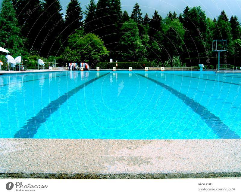 Die Ruhe nach dem Sturm Schwimmbad Baum Sportveranstaltung Wald grün grau Flüssigkeit Oberflächenspannung krumm Wölbung Steinplatten durchsichtig Spielen