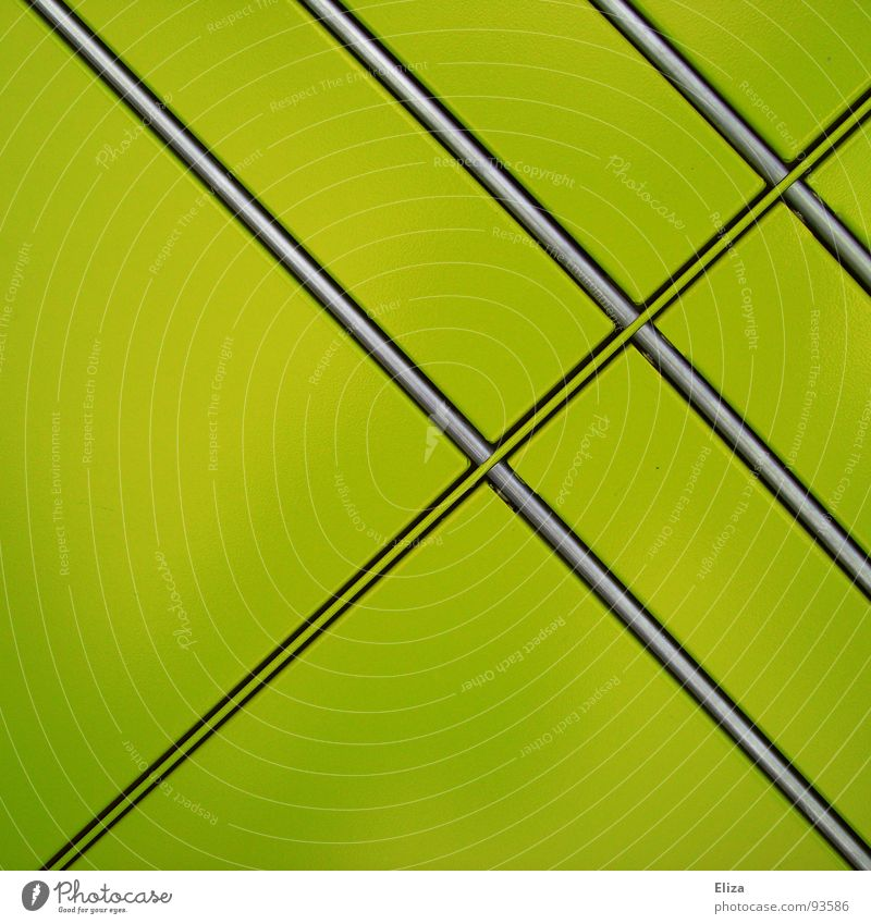 grünflächig Farbe Linie glänzend einfach Quadrat Langeweile diagonal Furche Gift graphisch flach parallel simpel giftgrün