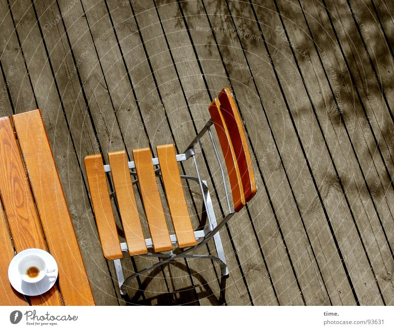 Schnellschuss Schatten Kaffee Garten Stuhl Tisch Gastronomie Balkon braun Pause keine zeit