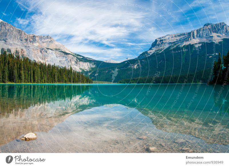 Emerald Lake Erholung Sommer Berge u. Gebirge wandern Natur Landschaft See Pause Alberta Goldene Stunde Kanada Rockies Rocky Mountains unberührt natürlich