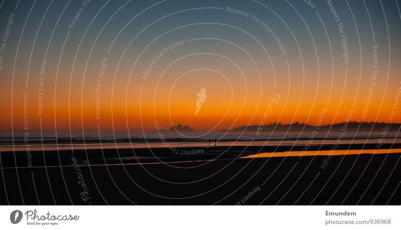 Sonnenuntergang zu zweit Erholung Strand Meer Natur Sonnenaufgang Küste Pazifikstrand Tofino Kanada Nordamerika Geborgenheit Romantik Fernweh British Columbia