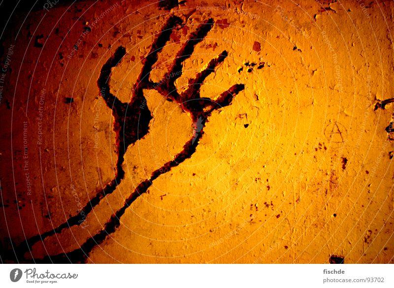 Höhlenmalerei Hand rot dunkel Wand Wärme Angst Arme Brand Finger Physik verfallen Vergangenheit Putz Höhle Bildhauerei