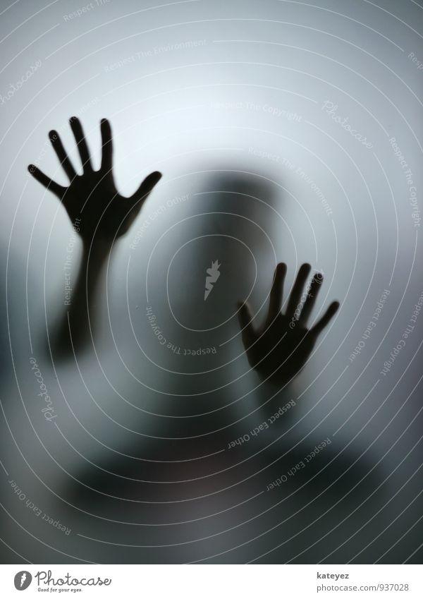 Tastsinn Mensch Frau Erwachsene Hand Glas berühren entdecken hocken kalt grau schwarz Gefühle Stimmung Laster Kraft Leidenschaft Neugier Hoffnung Glaube träumen