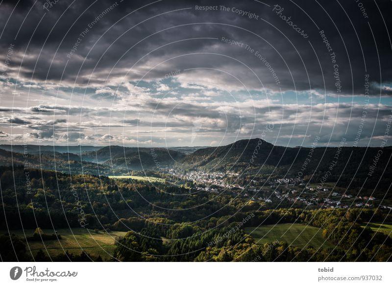 Malerische Pfalz Pt. 2 Himmel Natur Ferien & Urlaub & Reisen blau Pflanze grün Baum Landschaft Wolken Haus Ferne dunkel Wald Berge u. Gebirge Wiese grau