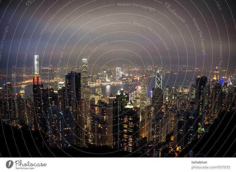 HK night lights blau Stadt Ferne schwarz leuchten träumen Aussicht Hochhaus glänzend Zukunft groß Coolness schlafen Skyline Unendlichkeit Hauptstadt