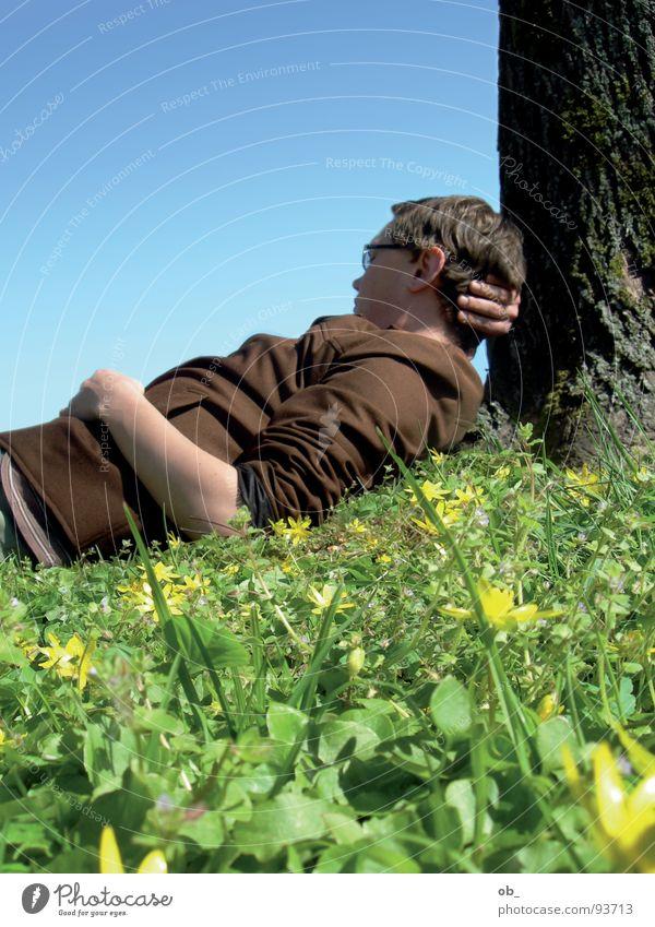 singlekuschelkreis Baum Wiese anlehnen verträumt Kerl Mann Frühling Erholung unaufmerksam Single Himmel blau Schönes Wetter