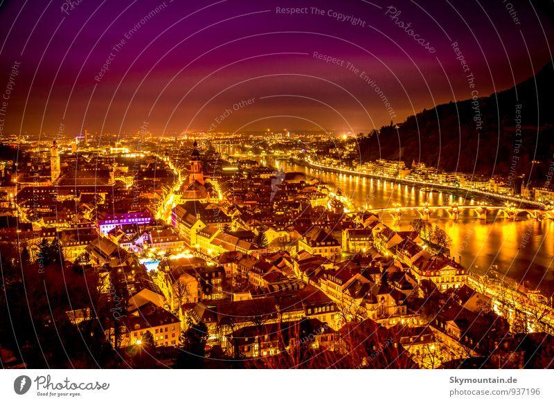 Heidelberg bei Nacht zur Weihnachtszeit Ferien & Urlaub & Reisen Stadt Weihnachten & Advent schön rot Haus Freude Winter schwarz gelb Gefühle Stimmung hell rosa