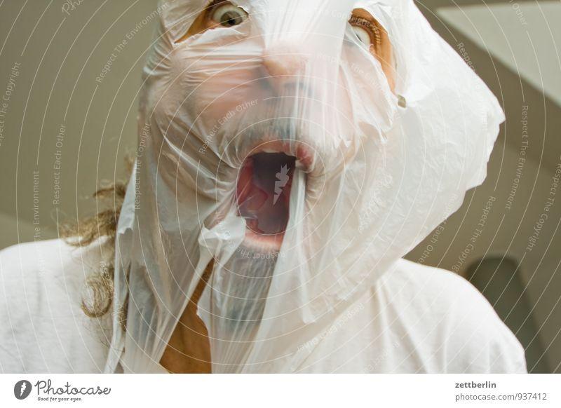 Dein Foto zeigt Personen. Gesicht Auge lustig Haare & Frisuren geschlossen Mund Kunststoff gruselig Maske Geister u. Gespenster Theaterschauspiel schreien Tüte