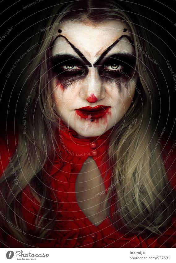 teuflisch Mensch Gesicht Gefühle feminin Feste & Feiern Stimmung gefährlich Wut gruselig Gewalt bizarr Aggression böse Ekel Halloween Frustration