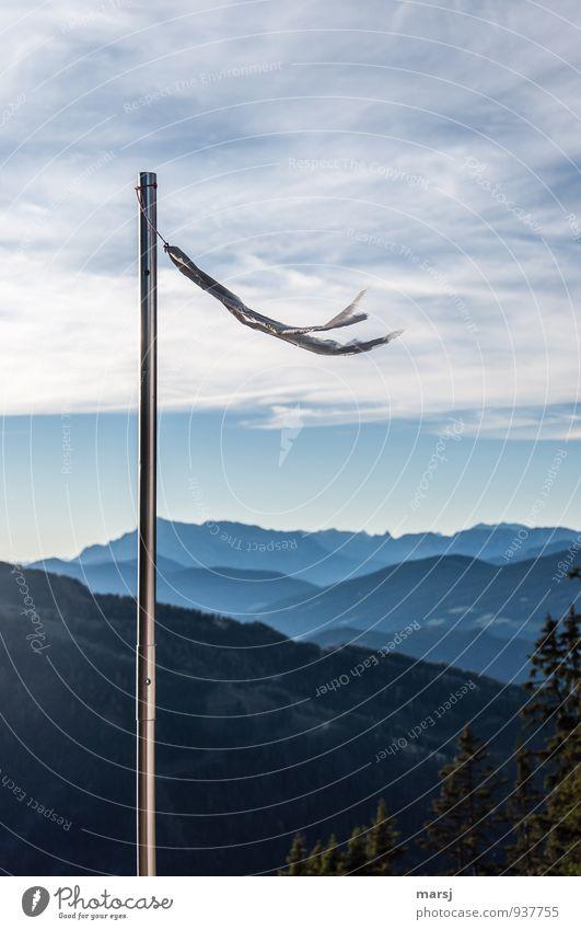 Süd Südwest Flugsportarten Windsack Windfahne Natur Himmel Wolken Sommer Herbst Schönes Wetter Hügel Alpen Berge u. Gebirge Stahl dünn einfach Unendlichkeit