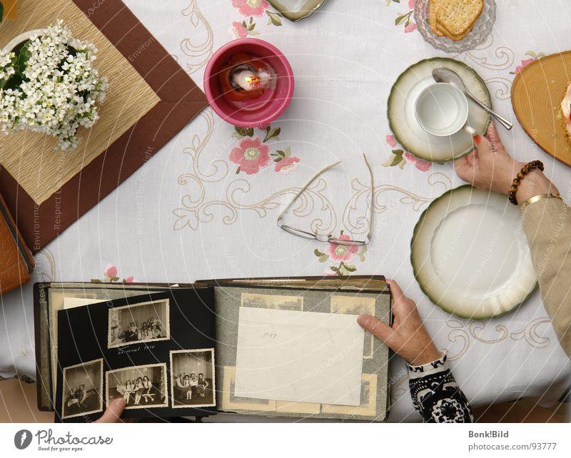 Kaffeeklatsch Familie & Verwandtschaft Blume Fotografie Tisch Geburtstag Kerze Großmutter historisch Kuchen Jubiläum Erinnerung Backwaren früher Schwarzweißfoto