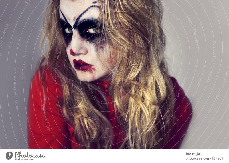 Halloween-Ungeheuer Feste & Feiern Karneval Junge Frau Jugendliche Erwachsene Gesicht 1 Mensch 13-18 Jahre Kind 18-30 Jahre Haare & Frisuren blond langhaarig