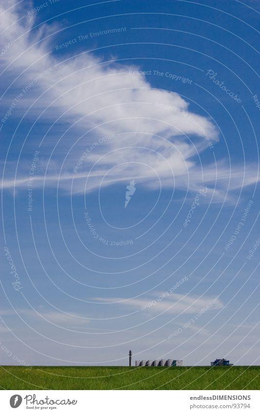 Stadt, Land, Himmel Wolken Horizont Wohnhochhaus Haus Feld grün Natur Plattenbau blau