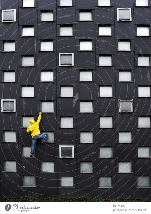 400 step by step Fitness Sport-Training Klettern Bergsteigen Mensch maskulin Mann Erwachsene Leben Körper 1 18-30 Jahre Jugendliche Mauer Wand Fassade Bewegung