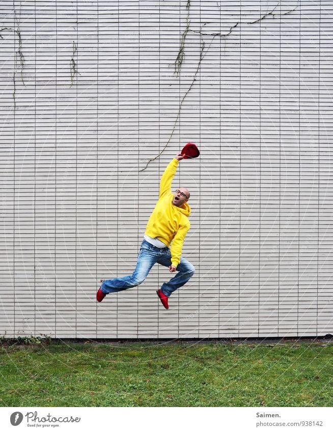 happy farbflash Mensch Jugendliche Mann Farbe Freude 18-30 Jahre Erwachsene Wand Leben Bewegung Gefühle Sport Mauer Glück Stimmung springen