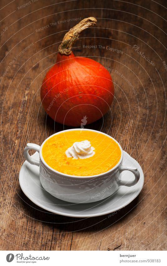 Haikkusuppe Essen Lebensmittel authentisch Ernährung gut Gemüse lecker Holzbrett Schalen & Schüsseln herbstlich Abendessen Sahne Kürbis rustikal Billig Suppe