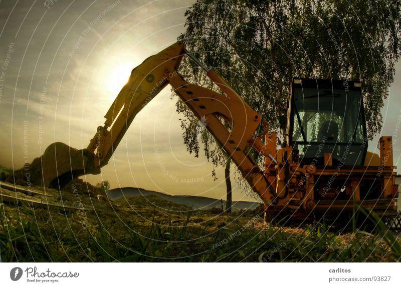 Baggerpanorama Baustelle Straßensperre Umleitung Straßenbau Bauarbeiter Kerl Sonnenaufgang Gegenlicht blenden Froschperspektive Arbeit & Erwerbstätigkeit