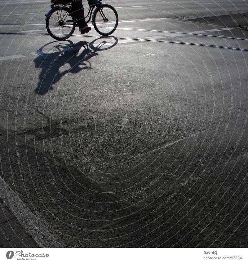 18:05 Asphalt Fahrradweg Gleise Sonne weiß grau schwarz heimwärts Feierabend Verkehrswege Schwarzweißfoto Straße Wege & Pfade Schatten pseudo-schwarzweiß