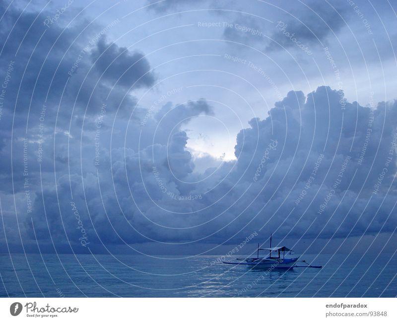 ocean Meer angenehm Stimmung Wolken Wasserfahrzeug ruhig harmonisch Asien Philippinen Außenaufnahme friedlich sanft blau Frieden Abend Ferien & Urlaub & Reisen