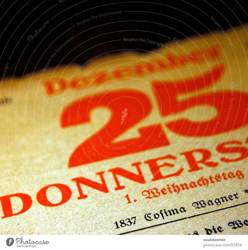 Christmastime... Weihnachten & Advent alt rot Winter Graffiti orange Papier 5 Jahr Kalender erste beige 20 Dezember Monat