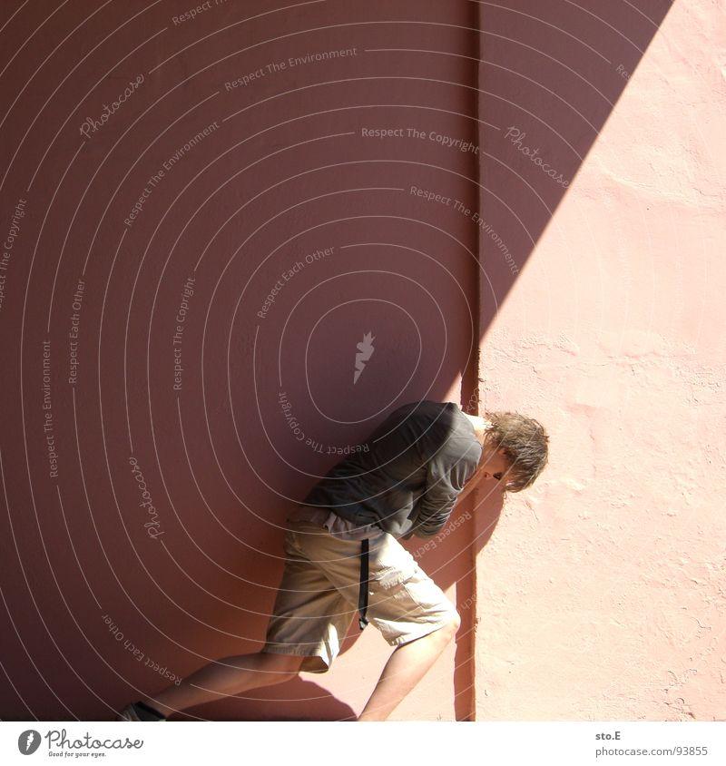 helft schieben! Mensch Jugendliche Sonne Wand Kraft Kraft stehen Ecke Körperhaltung verfallen i Tunnel Publikum Sonnenbrille Sportveranstaltung Rennbahn