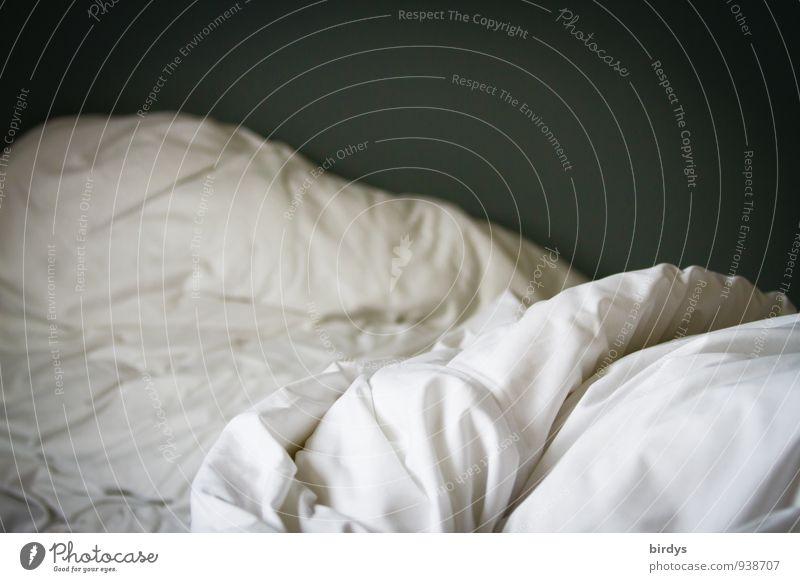 Guten Morgen Häusliches Leben Bett Schlafzimmer Bettwäsche Bettdecke authentisch kuschlig Erotik Erholung Falte aufwachen Farbfoto Gedeckte Farben Innenaufnahme