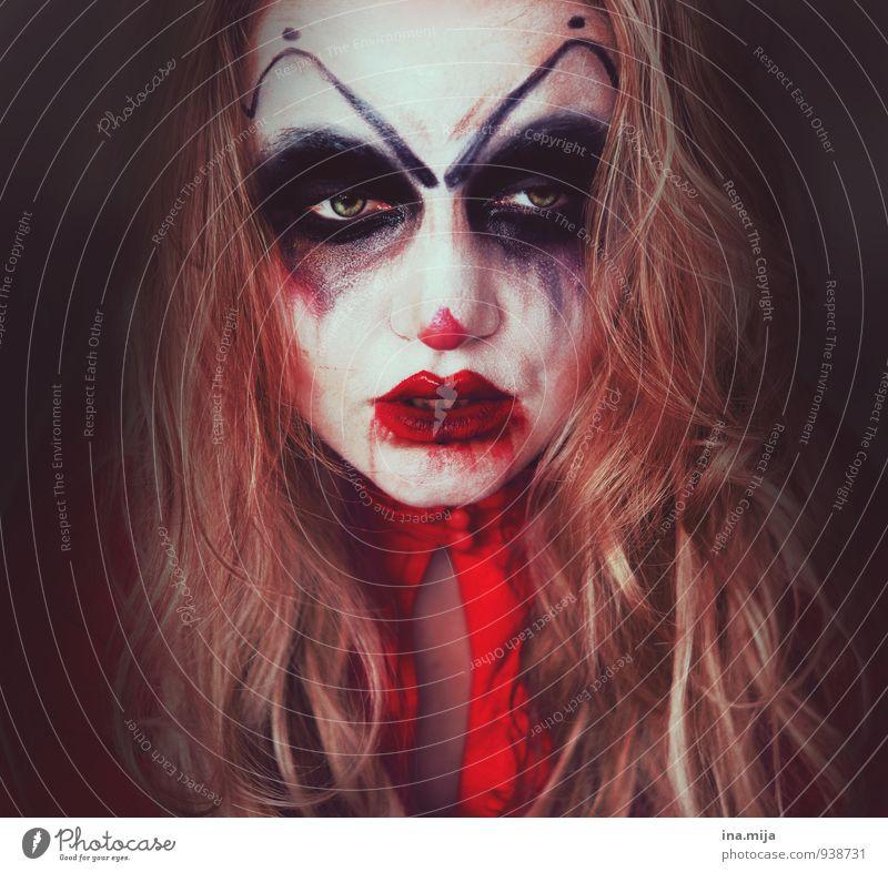Frau als Horrorclown geschminkt Feste & Feiern Karneval Halloween Mensch feminin 1 gefräßig Hemmungslosigkeit egoistisch Wut Ärger gereizt Feindseligkeit