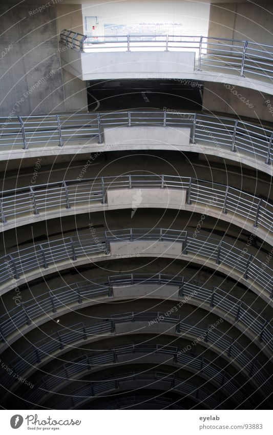 Schneckenschlund Architektur grau Beleuchtung Platz Beton Verkehr modern leer neu rund Geländer KFZ Stahl Eingang Loch Etage