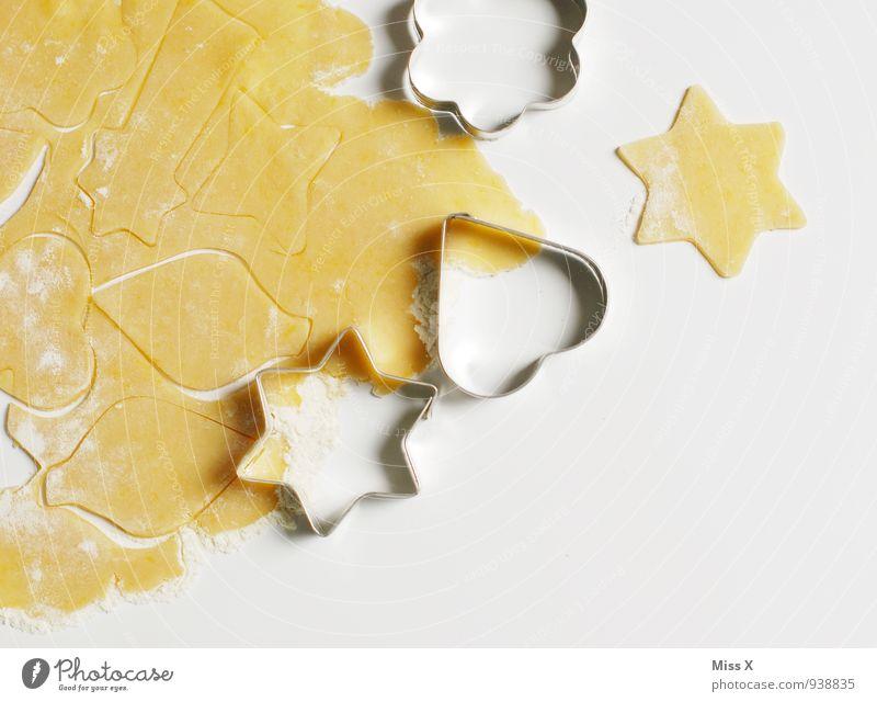 Stern Lebensmittel Ernährung Kochen & Garen & Backen süß Stern (Symbol) lecker Süßwaren Backwaren Teigwaren roh Plätzchen Weihnachtsgebäck Strukturen & Formen Backform Ausstechform Plätzchenteig