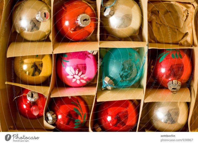 11 von 12 alt Weihnachten & Advent Farbe Winter Anti-Weihnachten Feste & Feiern Dekoration & Verzierung Glas Tradition Weihnachtsbaum Kugel Verpackung antik