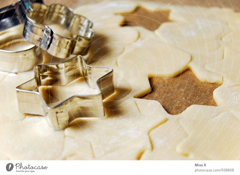großer Plätzchentag Lebensmittel glänzend Ernährung Kochen & Garen & Backen süß Stern (Symbol) lecker Backwaren Teigwaren roh Weihnachtsgebäck Backform optimal