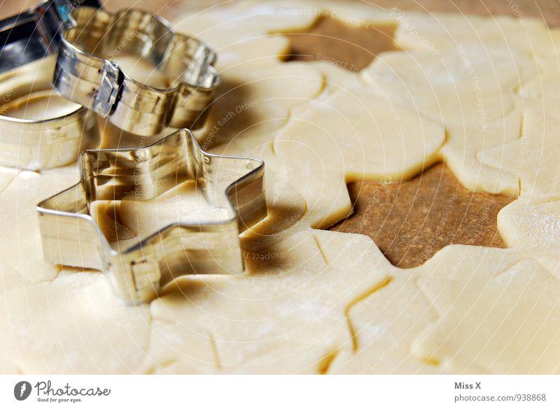 großer Plätzchentag Lebensmittel Teigwaren Backwaren Ernährung lecker süß Backform Stern (Symbol) Weihnachtsgebäck Farbfoto mehrfarbig Nahaufnahme