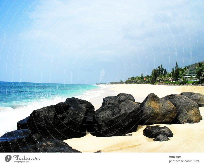Sunset Beach Hawaii Strand Meer Ferien & Urlaub & Reisen Insel blau Stein Sandstrand Menschenleer Textfreiraum oben Küste Pazifik Pazifikstrand Horizont