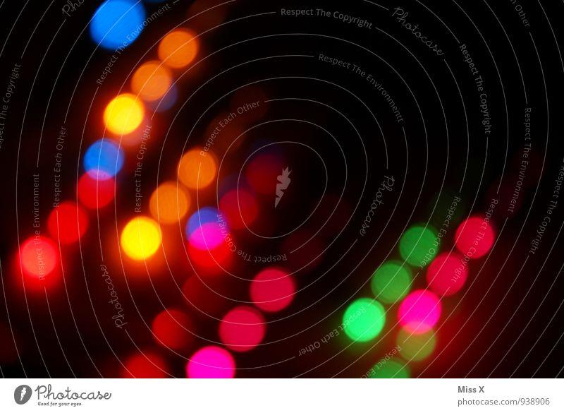 Punkte Nachtleben High-Tech Energiewirtschaft leuchten mehrfarbig Beleuchtung Lichterkette Feuerwerk Disco Club Farbfoto abstrakt Muster Menschenleer