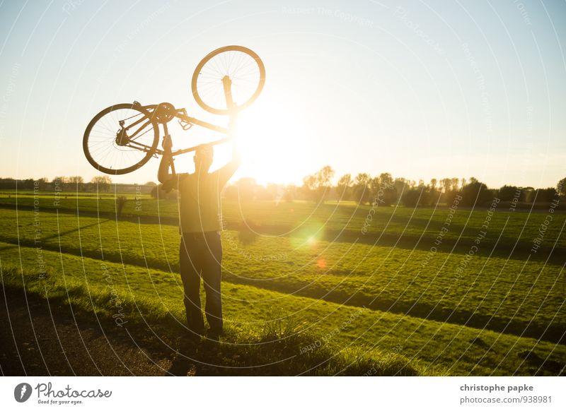 (w)heels over head Mensch Jugendliche Sonne Freude Junger Mann Erwachsene Herbst Wiese Sport maskulin Freizeit & Hobby Kraft Fahrrad Erfolg Schönes Wetter